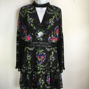 Anna Sui Bird Garland Jacquard Cut Out Mini Dress
